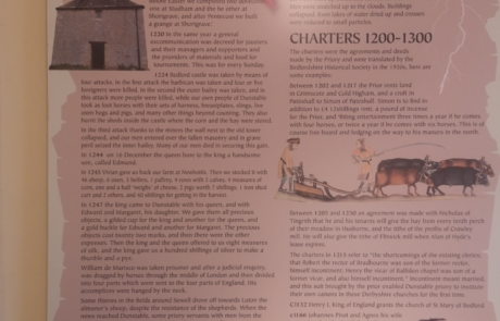 Annals and Charters wall at Priory House's medieval exhibition
