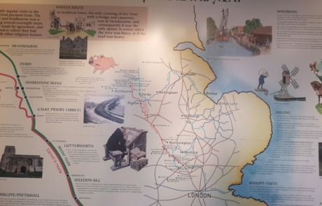Map wall at Priory House's medieval exhibition