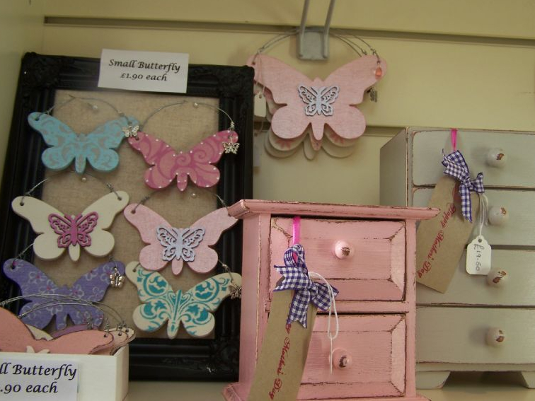 Keepsake box and hanging butterfly's at the Priory House Gift Shop