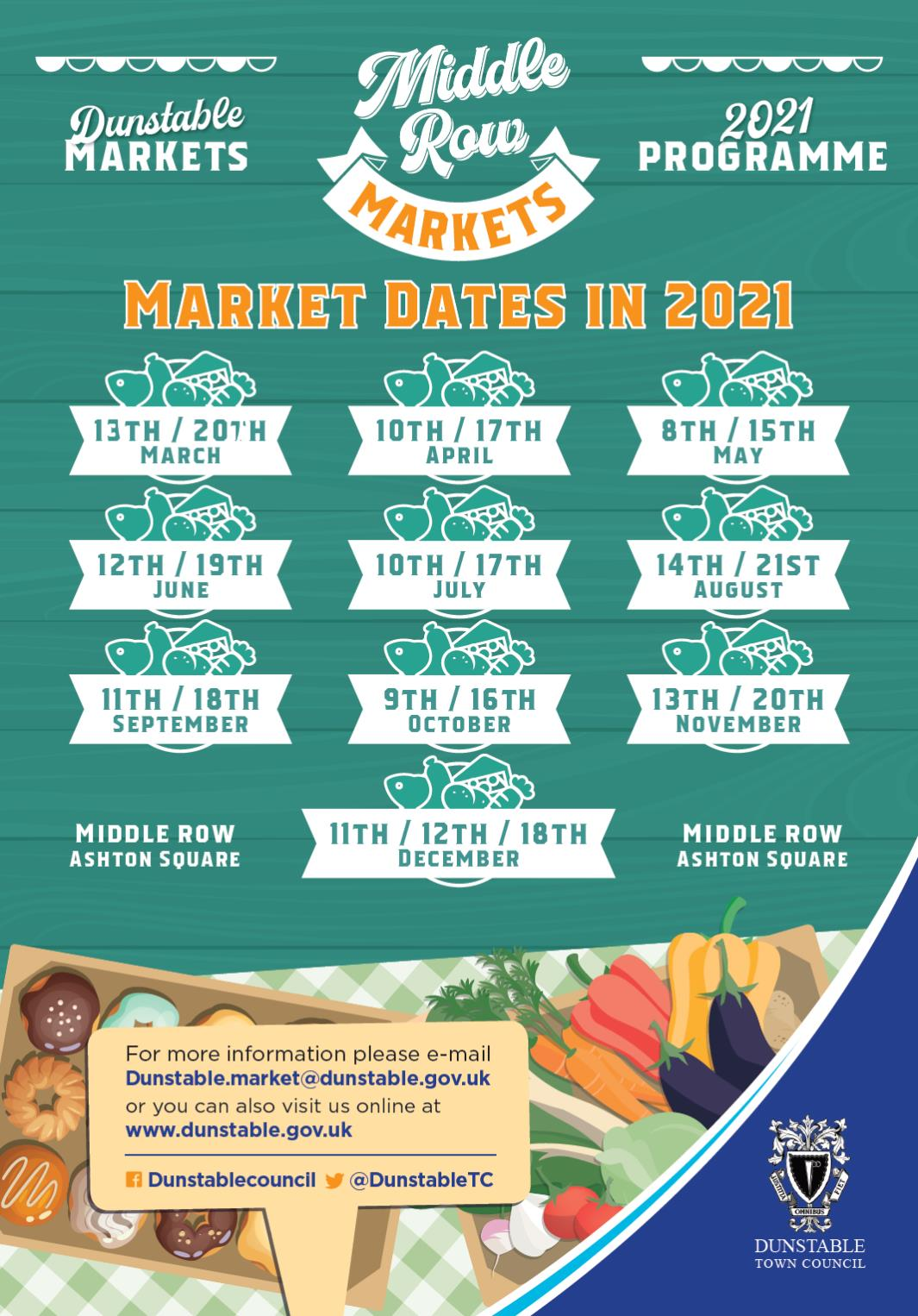 Middle Row Markets - Market Dates for 2021