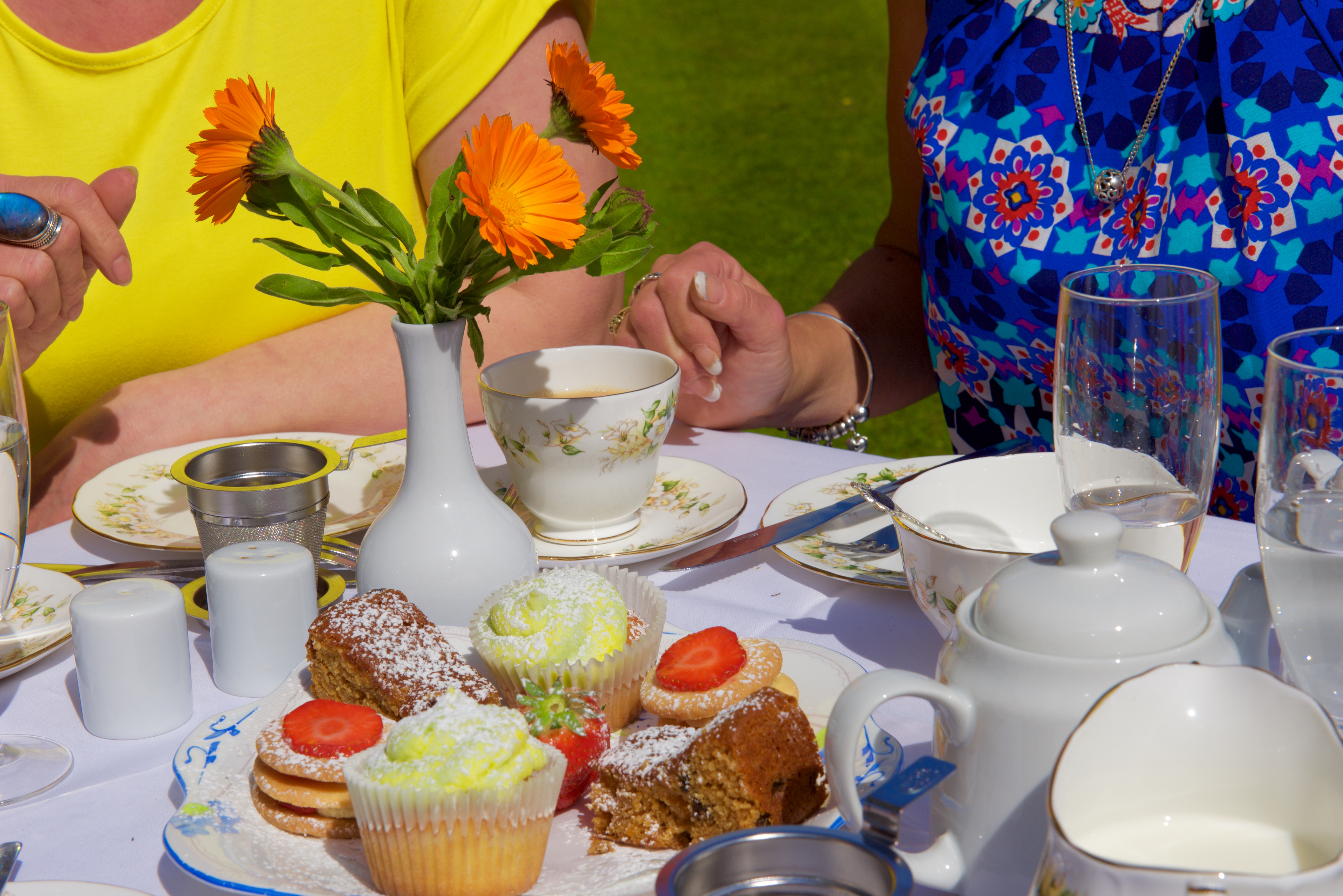 Afternoon tea on the terrace at Priory House