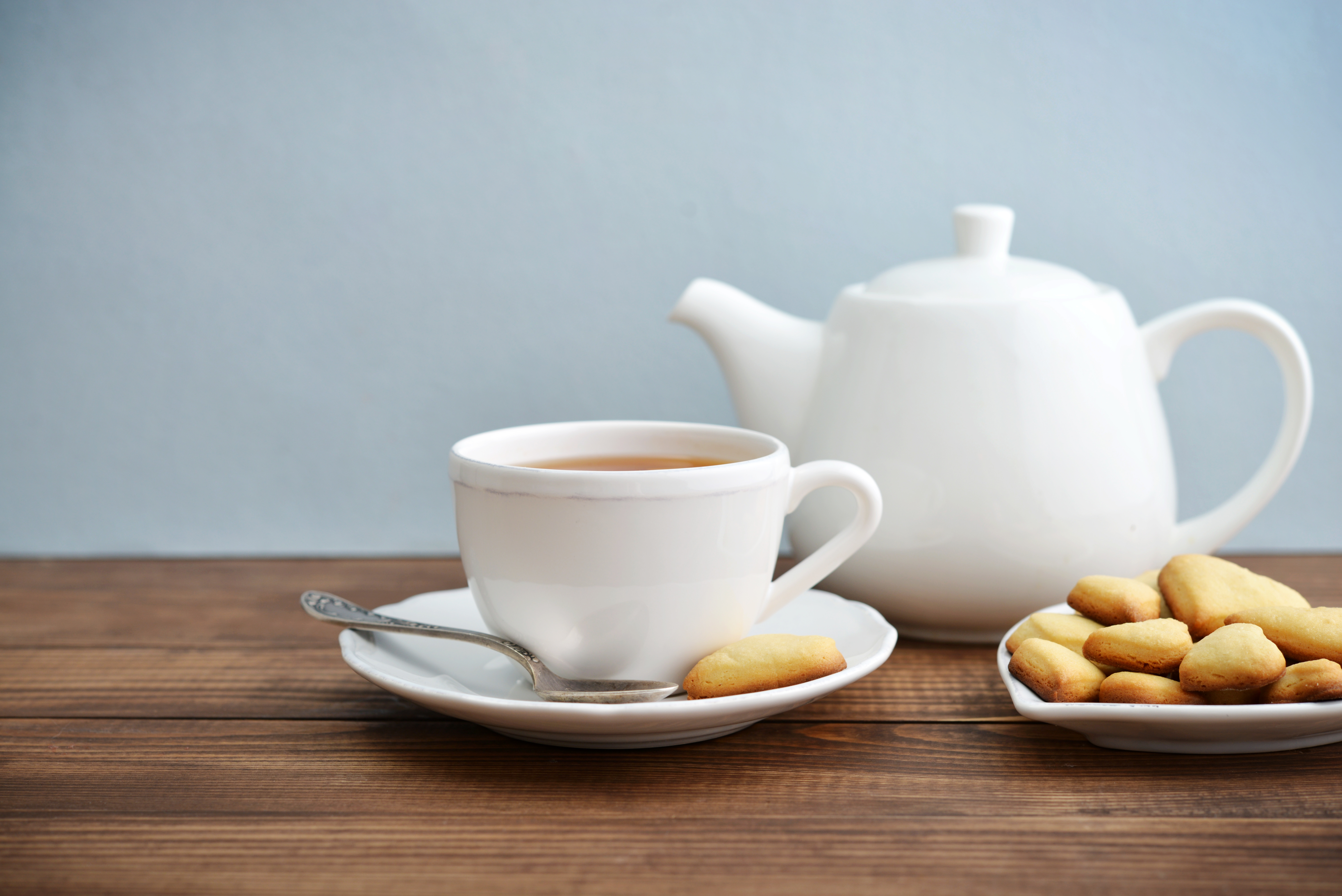 Cup of tea and cookies with teapot over blue background